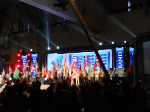 60 national flags on stage
